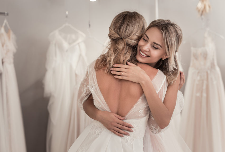 Nice happy woman hugging her best friend